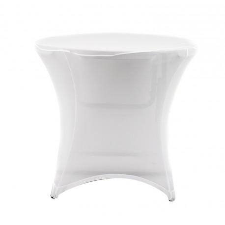 Nakładka elastyczna na stół koktajlowy niski 80x73 cm – biała