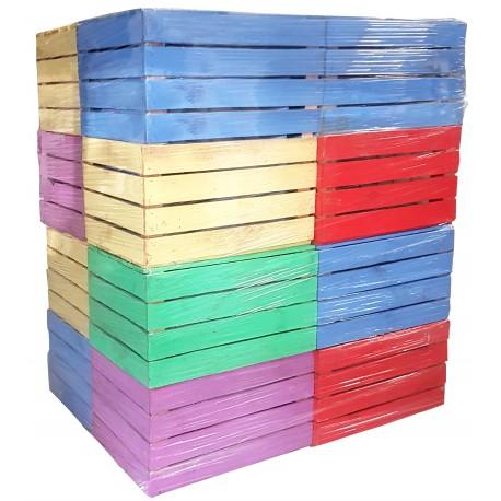 Skrzynki drewniane kolorowe