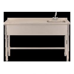 Stół ze zlewem jednokomorowym z półką i baterią – 140x65x85 mm