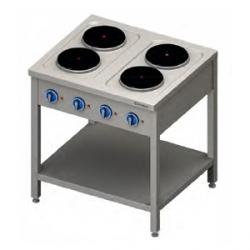 Kuchnia elektryczna wolnostojąca 4 palniki 80x70x85 cm, 10,4kW/400V