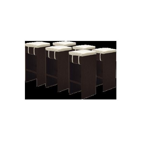 Hoker rattanowy x 6 sztuk - 36x36x73 cm - KOMPLET