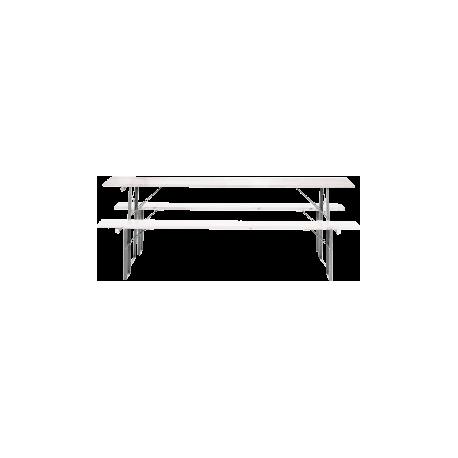 Ława piwna biała – komplet (2 ławki + ława) – 2 m